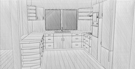 Tak nějak bude vypadat kuchyń, akorát spodní skříňky budou jinak členěné...