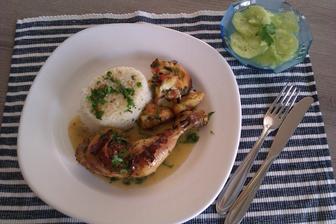 pečené kuře na tymiánu a slanině s rýží a nádivkou...