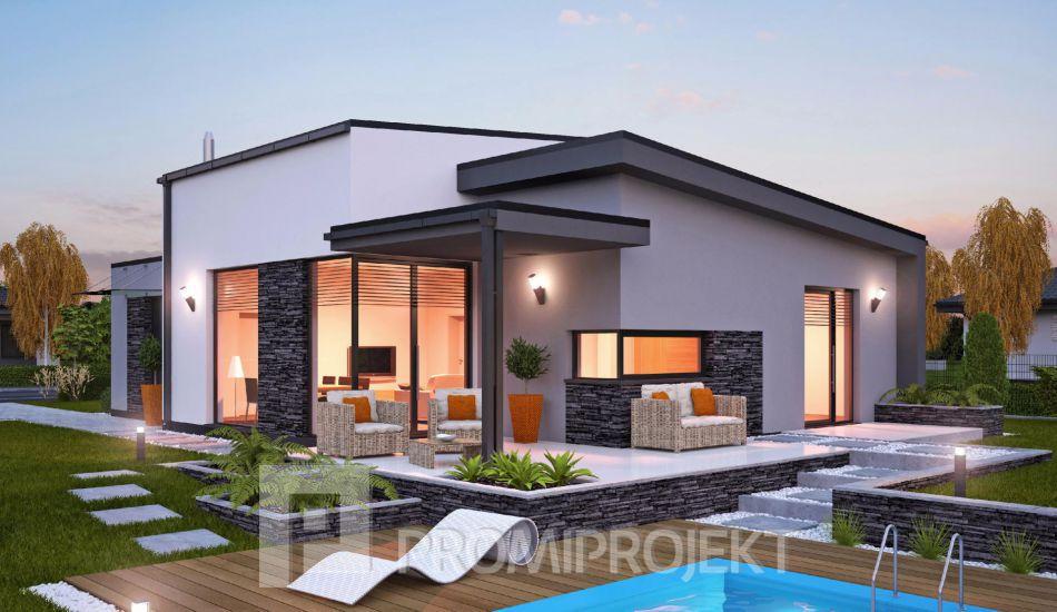 Moderný ultranízkoenergetický prízemný rodinný dom Laguna 445 - Laguna 445 www.promiprojekt.sk