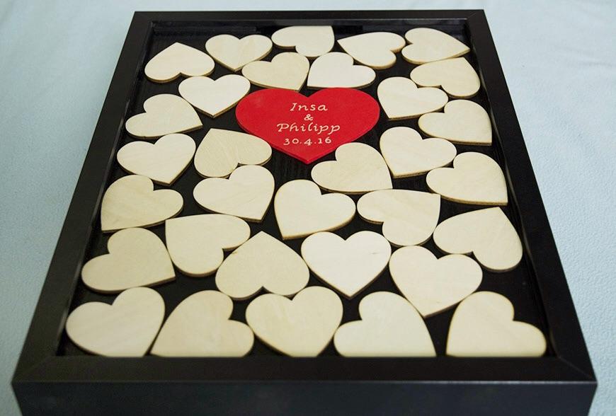 Moje práce - weddart - Svatební rám velká srdce - pro menší svatbu
