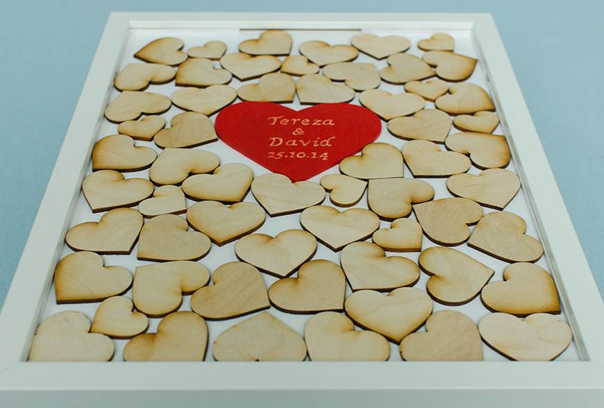 Moje práce - weddart - Svatební rám srdce - bílá varianta