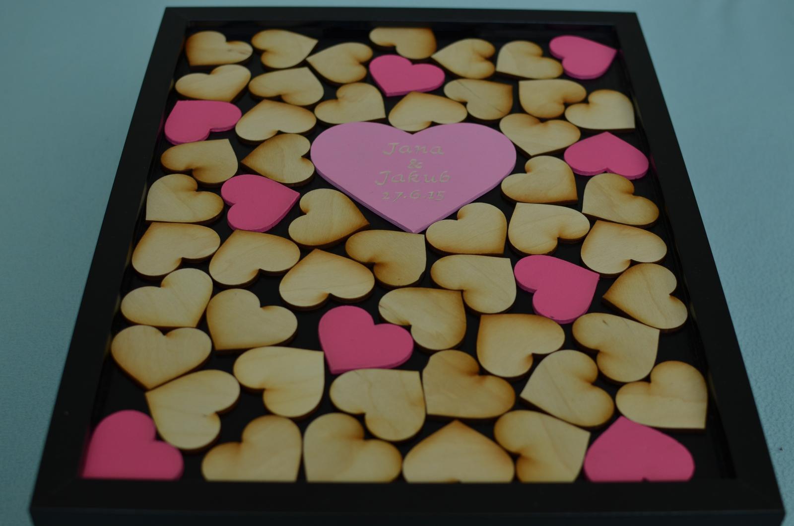 Moje práce - weddart - Rám srdce s barevnými srdíčky
