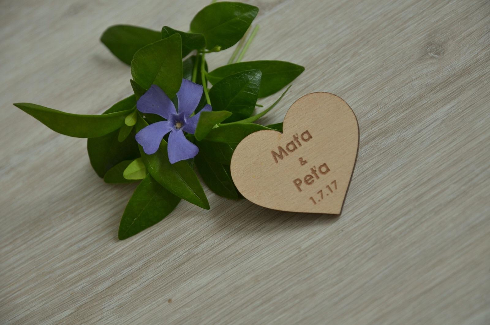Moje práce - weddart - Dřevěná magnetka - srdce