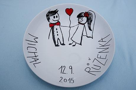 Ručně malovaný svatební talíř na přání  - Obrázek č. 1