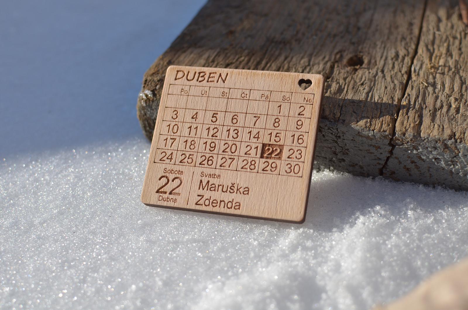 Dřevěné svatební oznámení - magnet - Obrázek č. 2