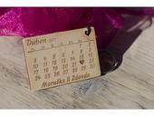 Svatební oznámení - dřevěný přívěšek na klíče,