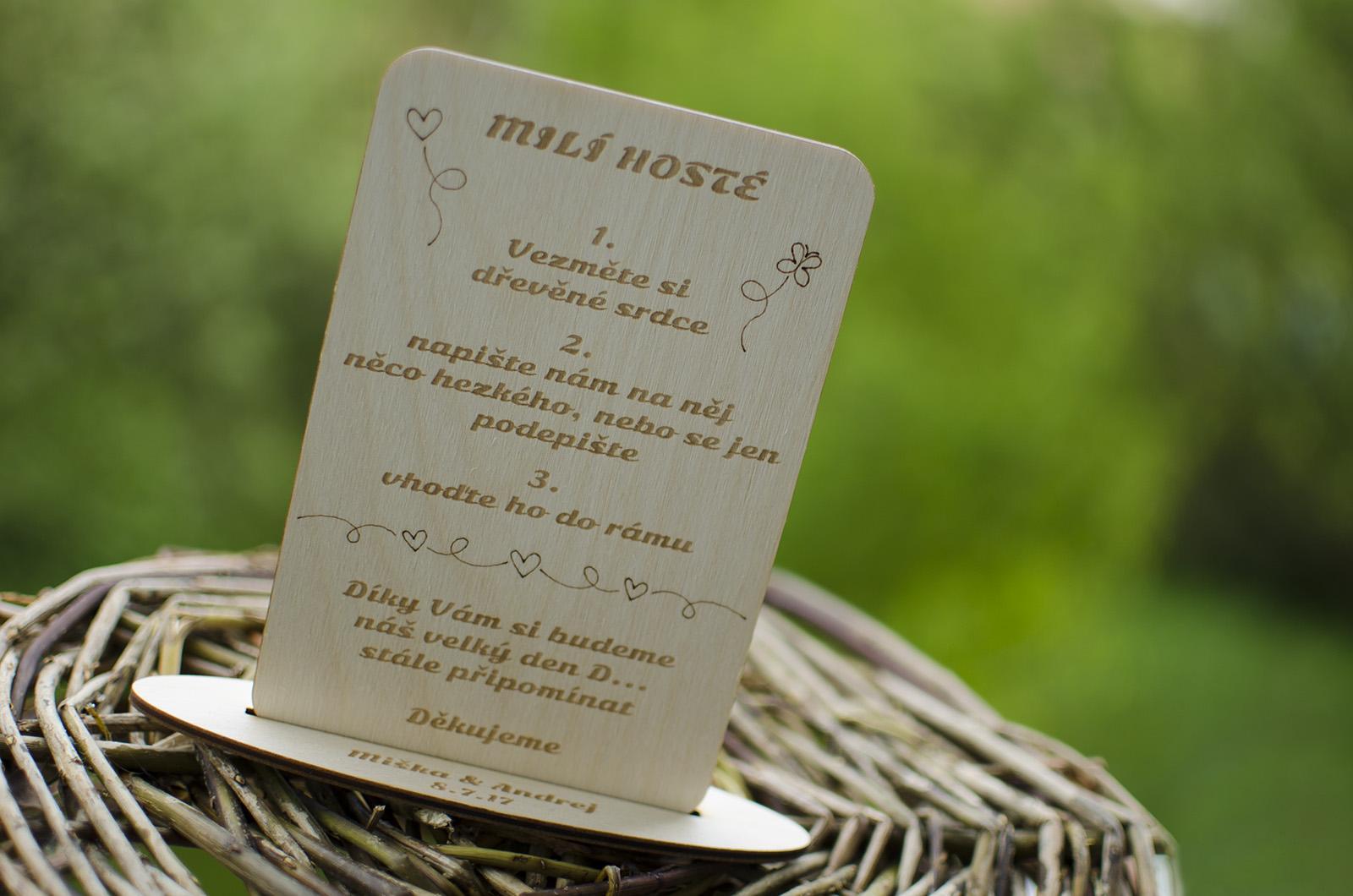 Dřevěná tabulka k svatebnímu rámu - Obrázek č. 1
