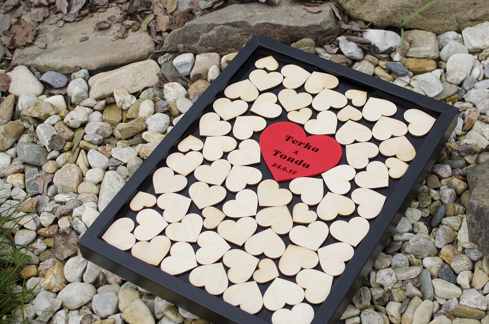 Svatební kniha hostů - rám srdce MAXI - černý - Obrázek č. 1