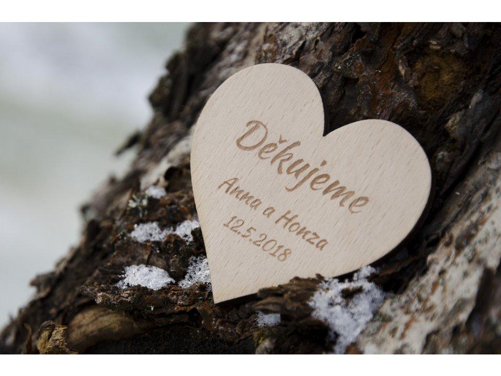 Svatební magnetka DĚKUJEME Srdce - Obrázek č. 1