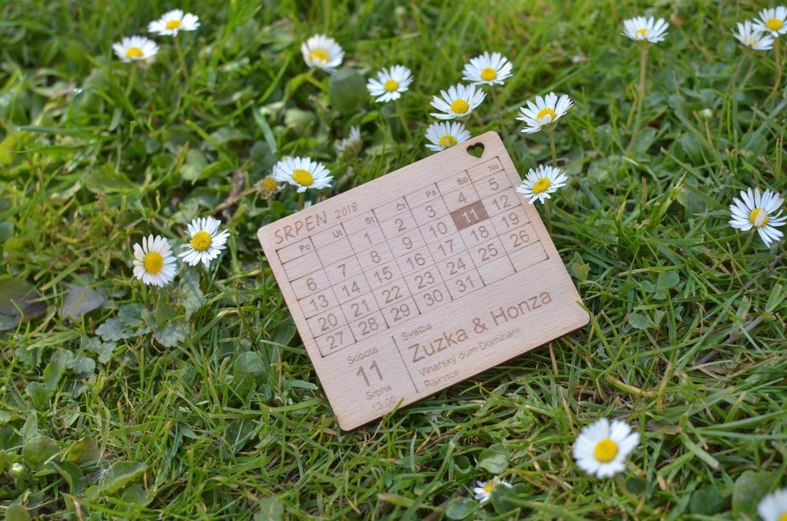 Dřevěné svatební oznámení - magnet - Obrázek č. 1