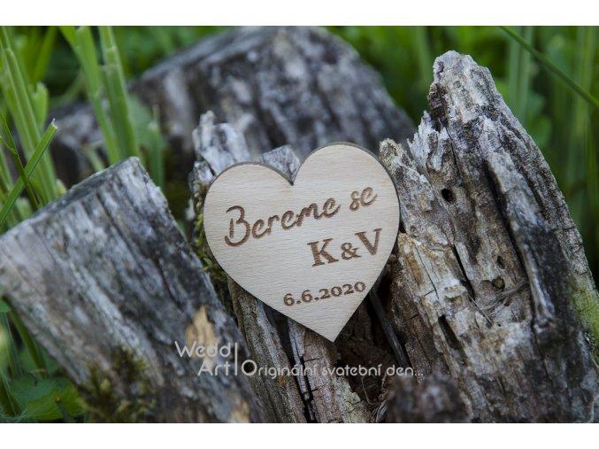 """Svatební magnetka """"Bereme se"""" srdce - Obrázek č. 1"""