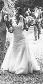 Krajkové svatební šaty - efektní záda, 38