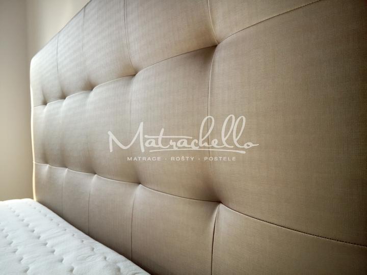 Čalouněné postele, které jsme vyrobili - Čalouněná postel z kolekce FUTURA vo verzi s úložným prostorem - detail čela.