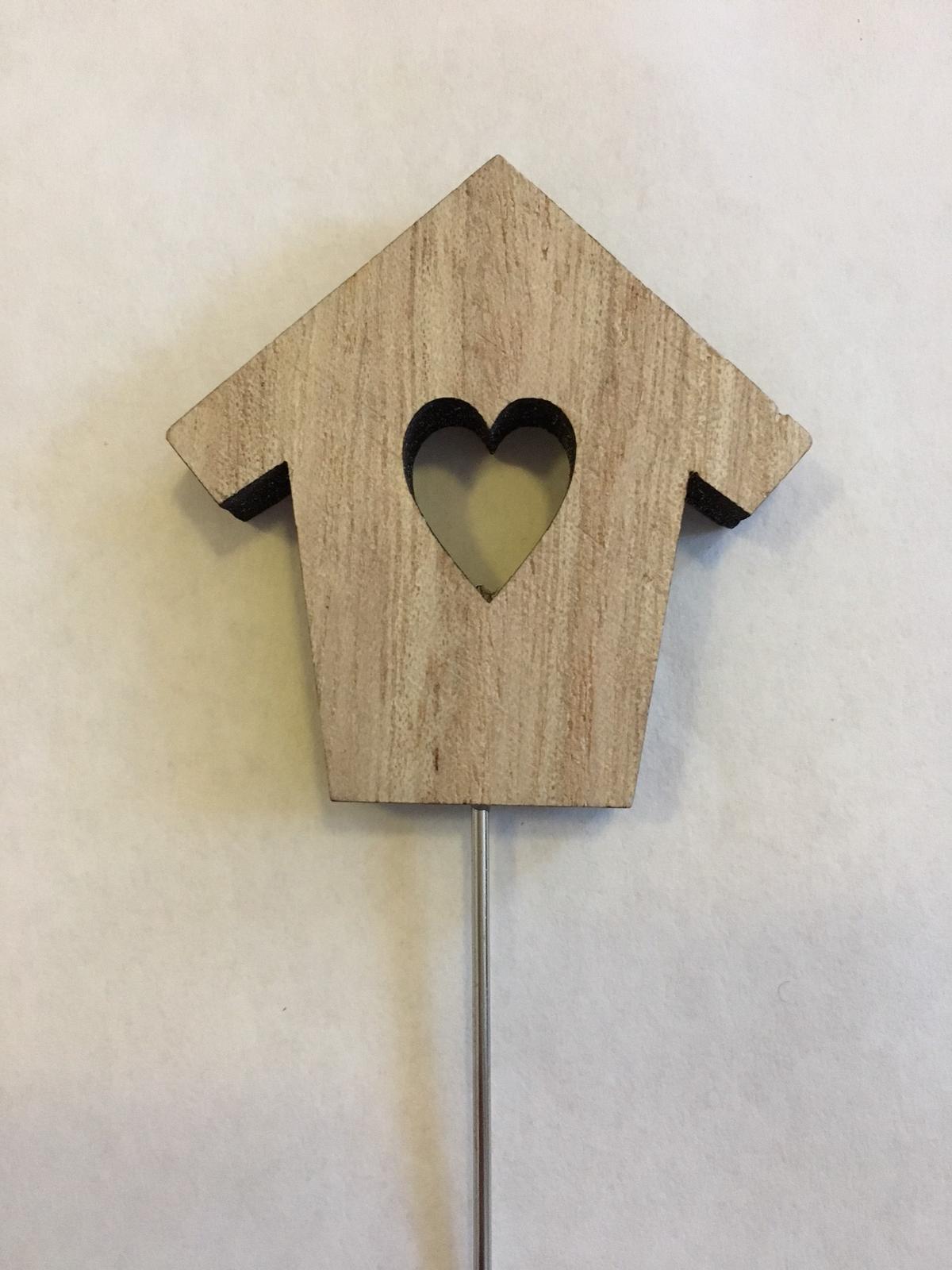 Dřevěný zápich s kovovým koncem, domeček přírodní  - Obrázek č. 1