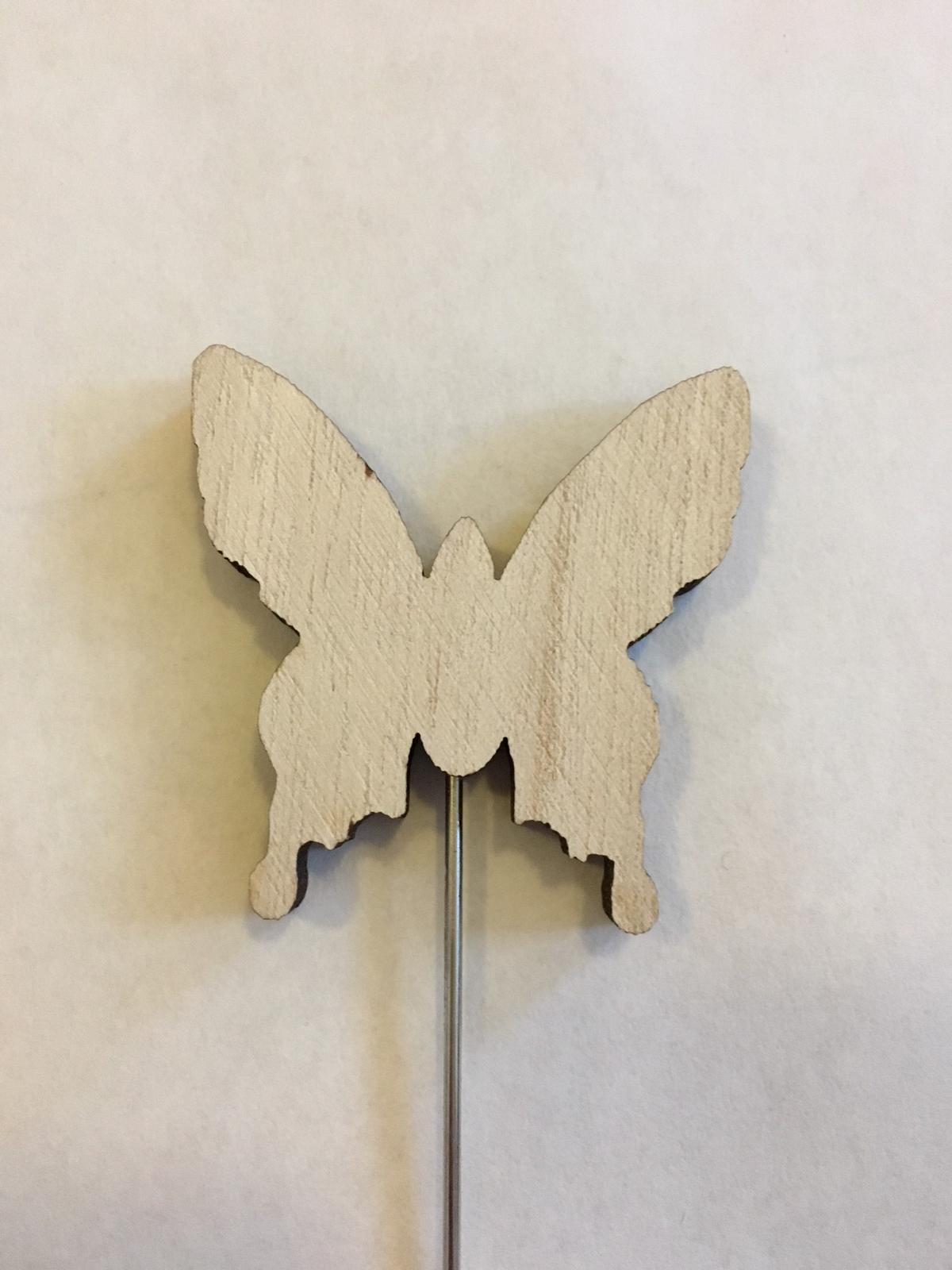 Dřevěný zápich s kovovým koncem, motýl přírodní  - Obrázek č. 1