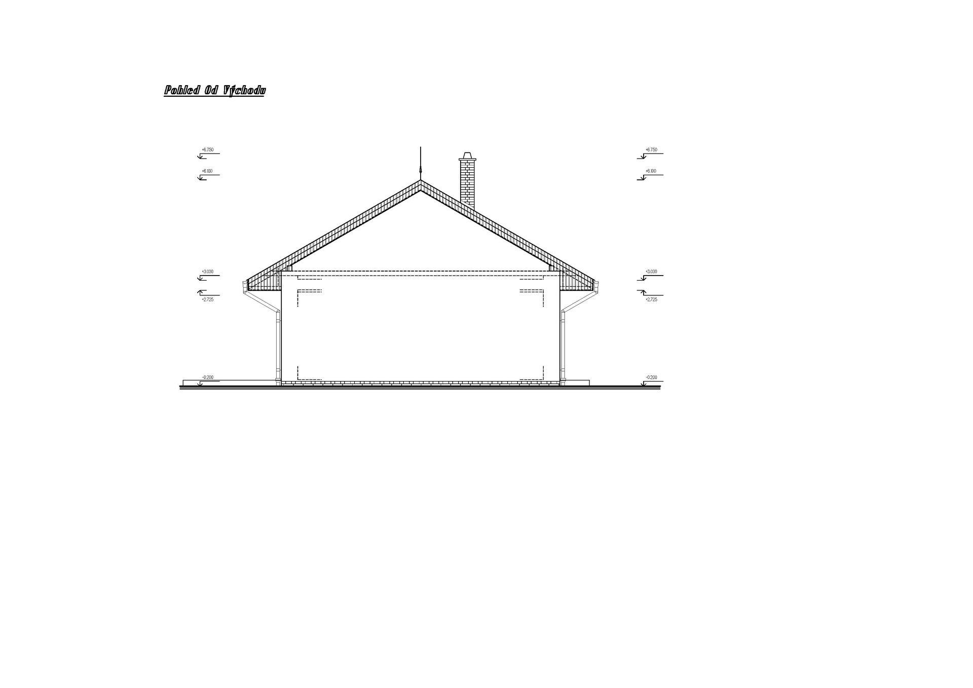 Vesnický mini dům - 1. verze návrhu studie - pohled z východu