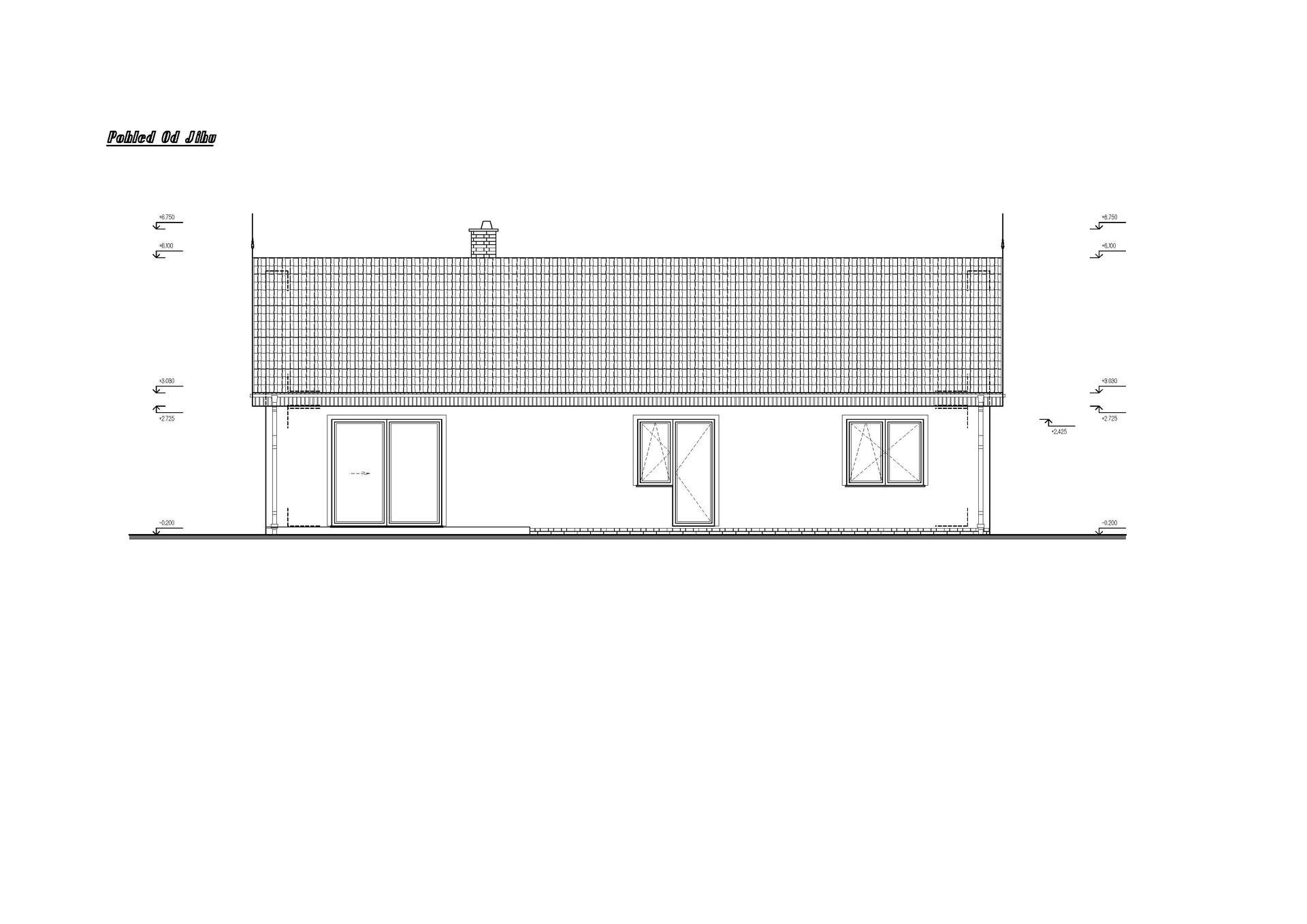 Vesnický mini dům - 1. verze návrhu studie - pohled z jihu