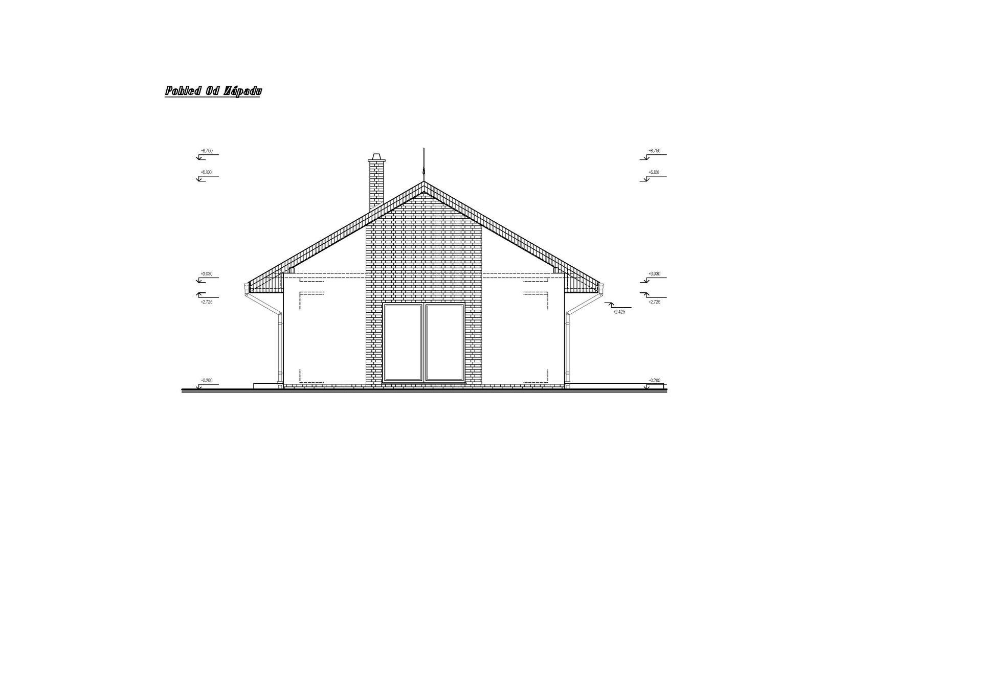 Vesnický mini dům - 1. verze návrhu studie - pohled ze západu.   Místo obložení cihličkami bude obložení dřevem - modřínem nebo cedrem :)