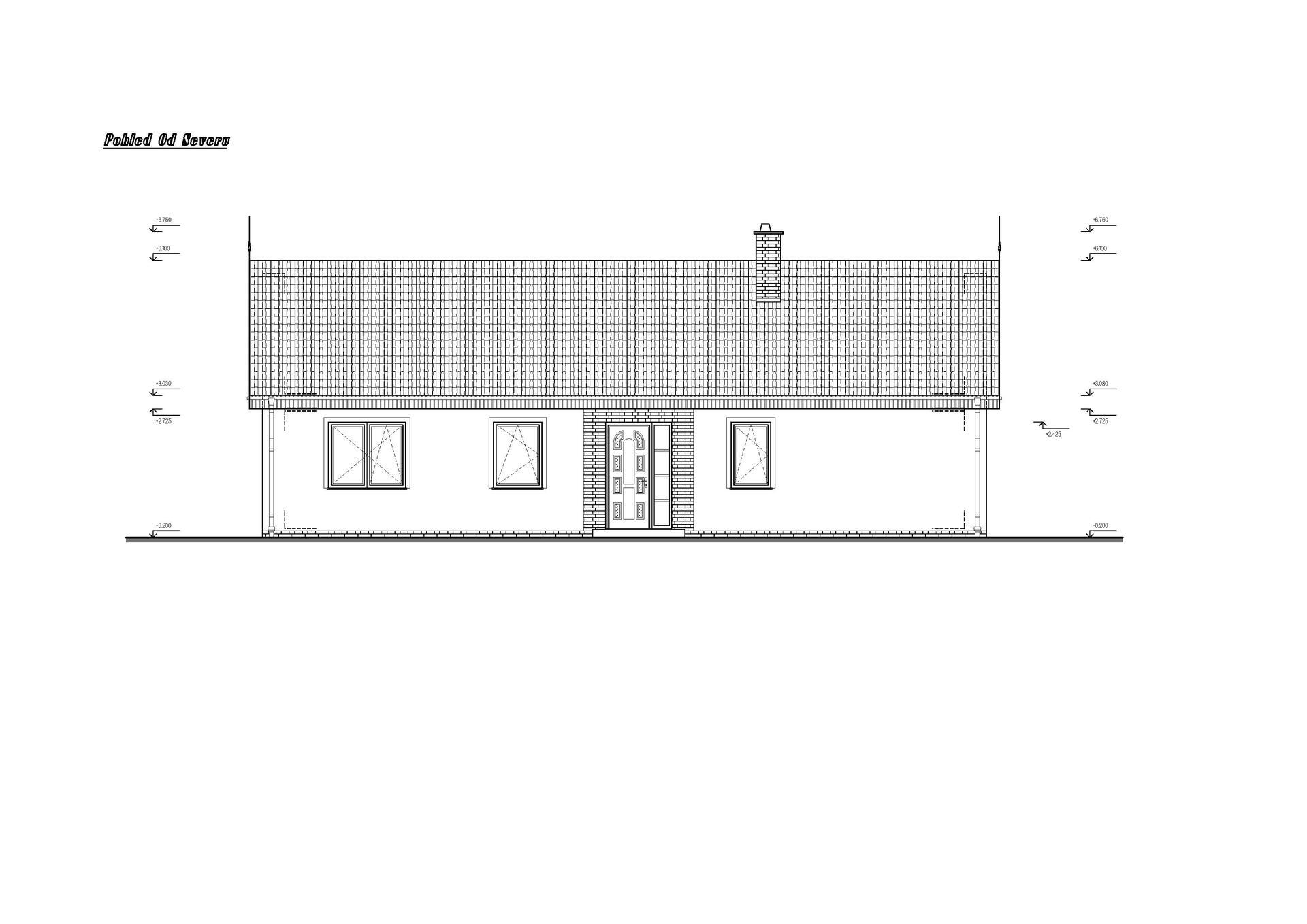 Vesnický mini dům - 1. verze návrhu studie - pohled ze severu.   Místo obložení cihličkami bude obložení dřevem - modřínem nebo cedrem :)