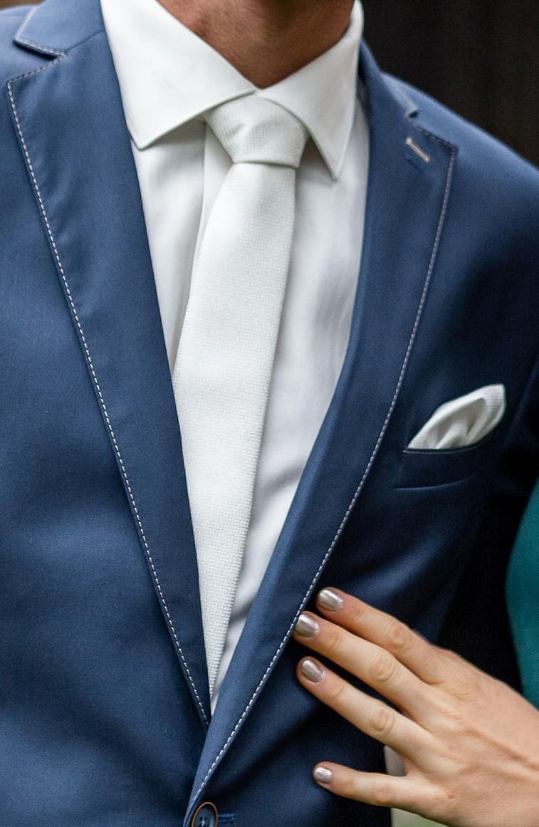 Ivory kravata a kapesníček do klopy Bandi - Obrázek č. 1