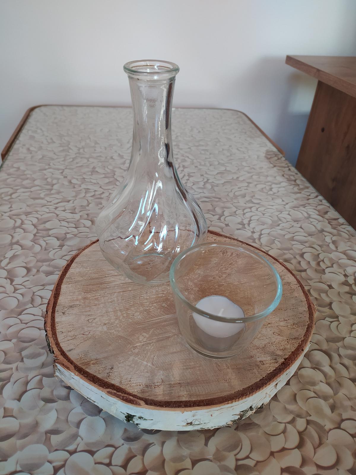 Váza, svícen, dřevěné kolečko - Obrázek č. 1