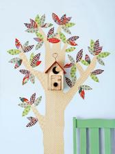 Tapetový strom - nalepené látky.................http://www.inhabitots.com/inke-birdhouse-lamp-handmade-from-salvaged-french-oak/inkeblw/