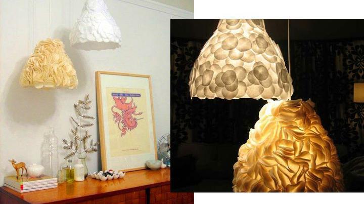 Recyklované a iné nápady ♻ - http://www.designsponge.com/2008/05/diy-project-kates-sculptural-pendant-lamps.html