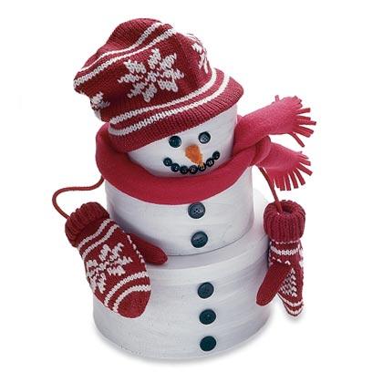Natural christmas (aké dekorácie si môžeš vyrobiť sama:) ☃ - Potrebujeme: 3krabičky v postupných veľkosiach, bielu akryl.farbu, gombíky, lepidlo, oranžovú látku na nos (z tvrdého papiera) a detske oblečenie