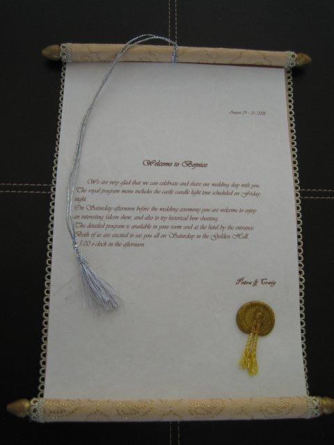 Wedding Royale - takto som to chcela, aby si hostia nasli uvitaci list na izbe v hoteli (anglicka verzia, mam ich aj v slovencine)