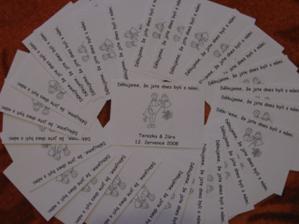 děkovné kartičky do výslužek