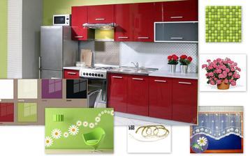 tak bych si představovala naši mickro kuchyň - bílou,zelené obklady, protější stěna zeleně vymalovaná, na ní nějaké květiny na okně záclonka a za oknem muškáty .... nemůžu se dočkat