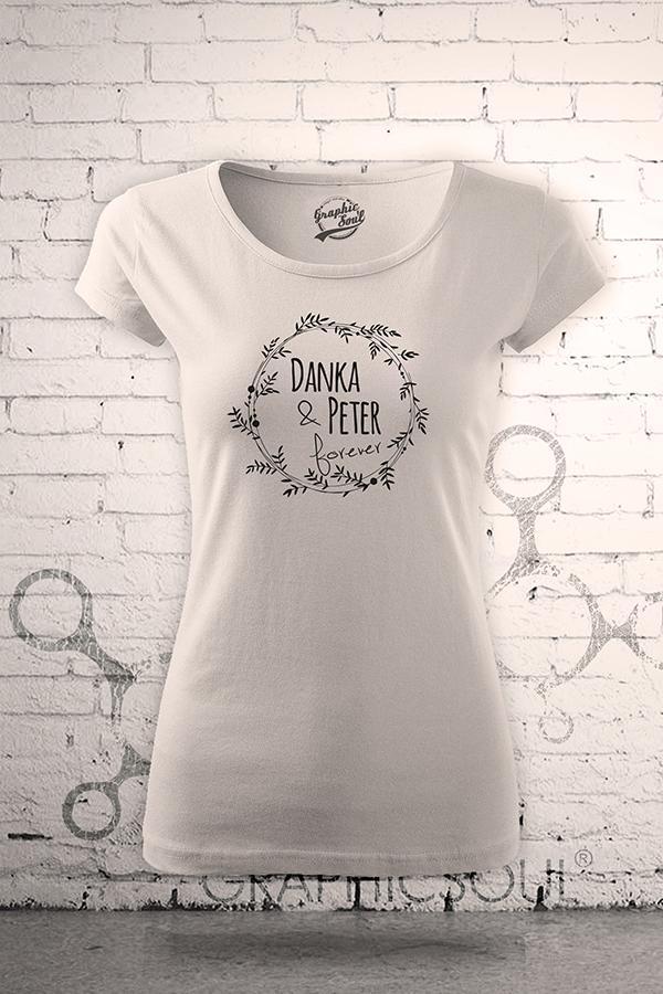 Svadobné tričká - Svadobné tričká s menami - dámske tričkou