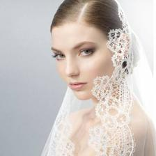 Wedding veil, lace trimmed