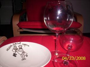 svatební talíř na polívku a skleničky