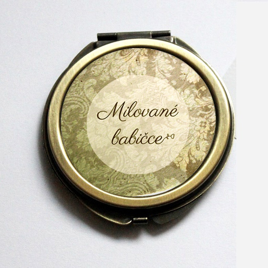 Dárečky pro rodiče a svědky - Vintage zrcátko pro babičku - bronzové zrcátko nově v nabídce