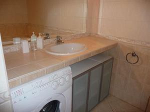 takto si to nejak predstavujem. dlhý pult (asi murovaný s obkladom), zapustené umývadlo, pod pultom schovaná práčka + skrinky na mieru