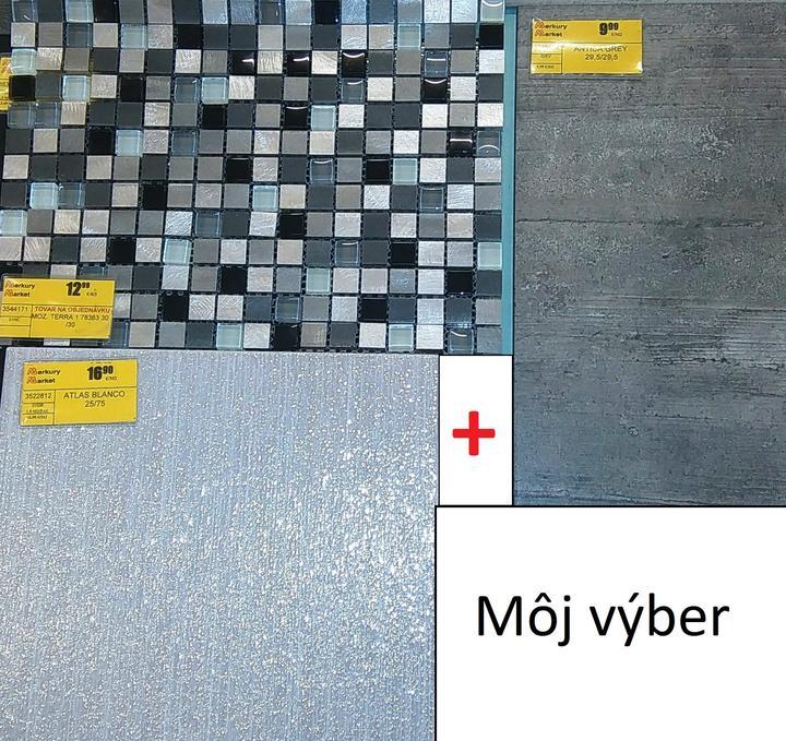 Hurááááá :-)  obklad do wc kúpený  (mozaika-za wc, biely lekský obklad na bočné steny, šedá je dlažba)