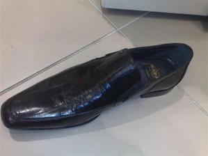 boty na svatbu; materiál je kůže z břicha úhoře, prý je ta kůže odolnější proti vlhkosti a vodě... hlavně mi ale padly do oka :)