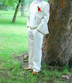 Letný krémový oblek s pásikmi , 48