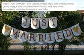 Veľká girlanda Just married - aj do exteriéru,