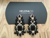 Helena Dia náušnice handmade - čierne,