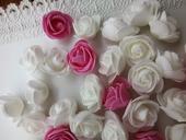 Pěnové růžičky růžové, 35ks,