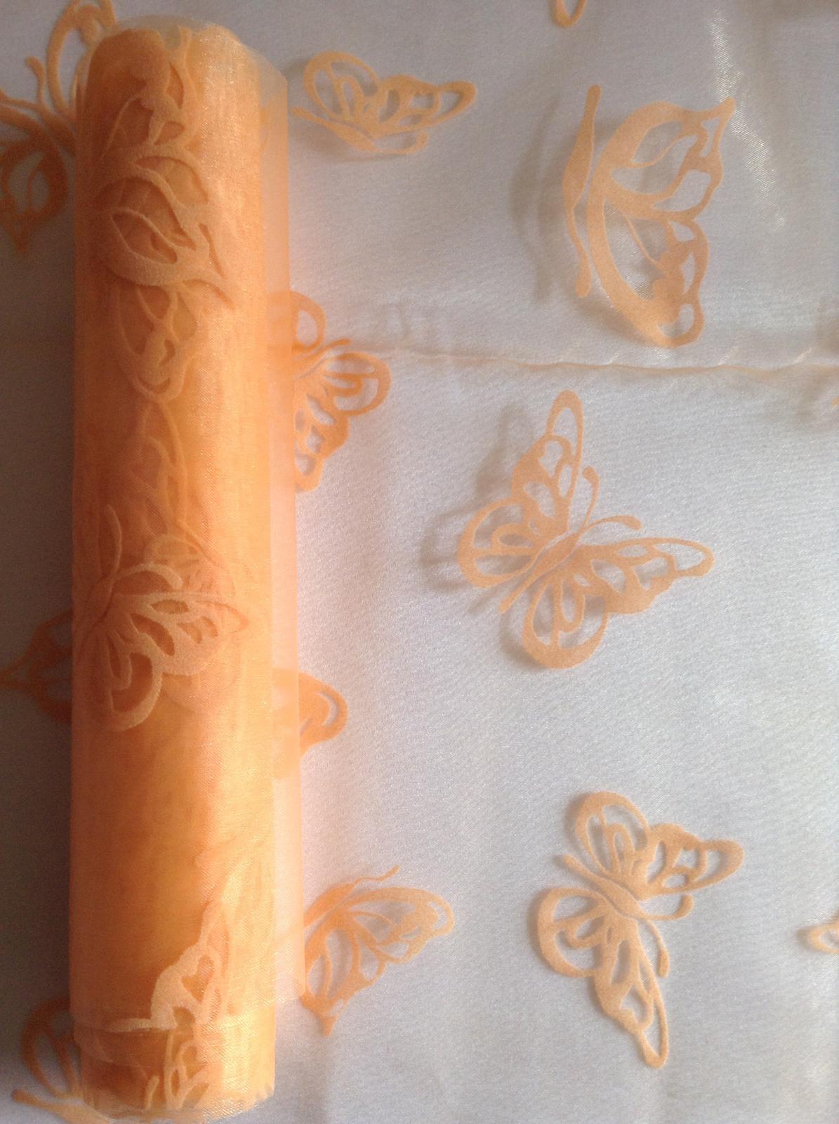 Organza marhuľová zamatová potlač motýľ - Obrázok č. 1