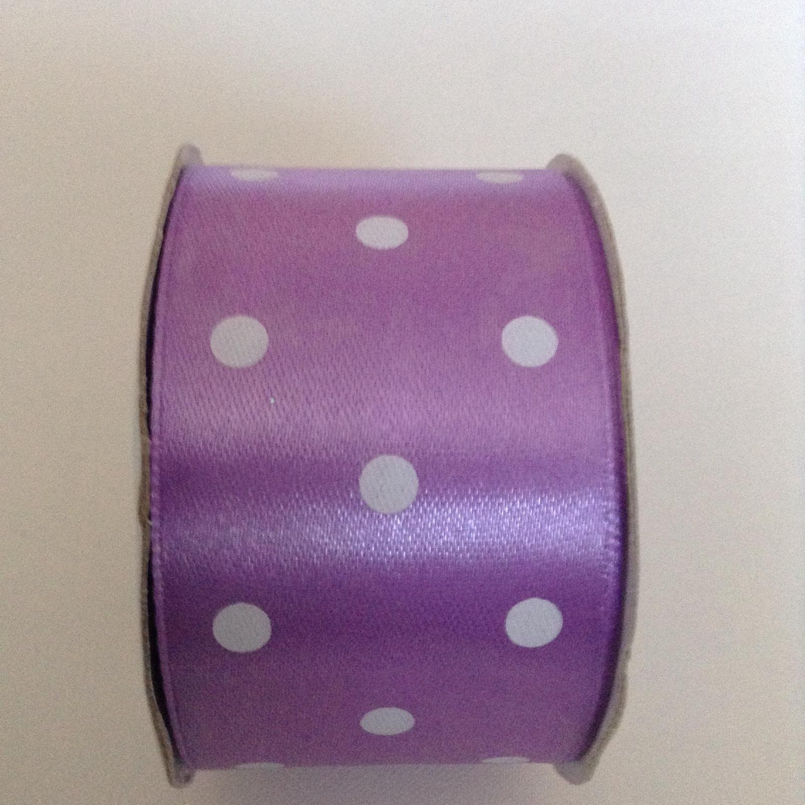 Saténová stuha fialová s bodkami - Obrázok č. 1