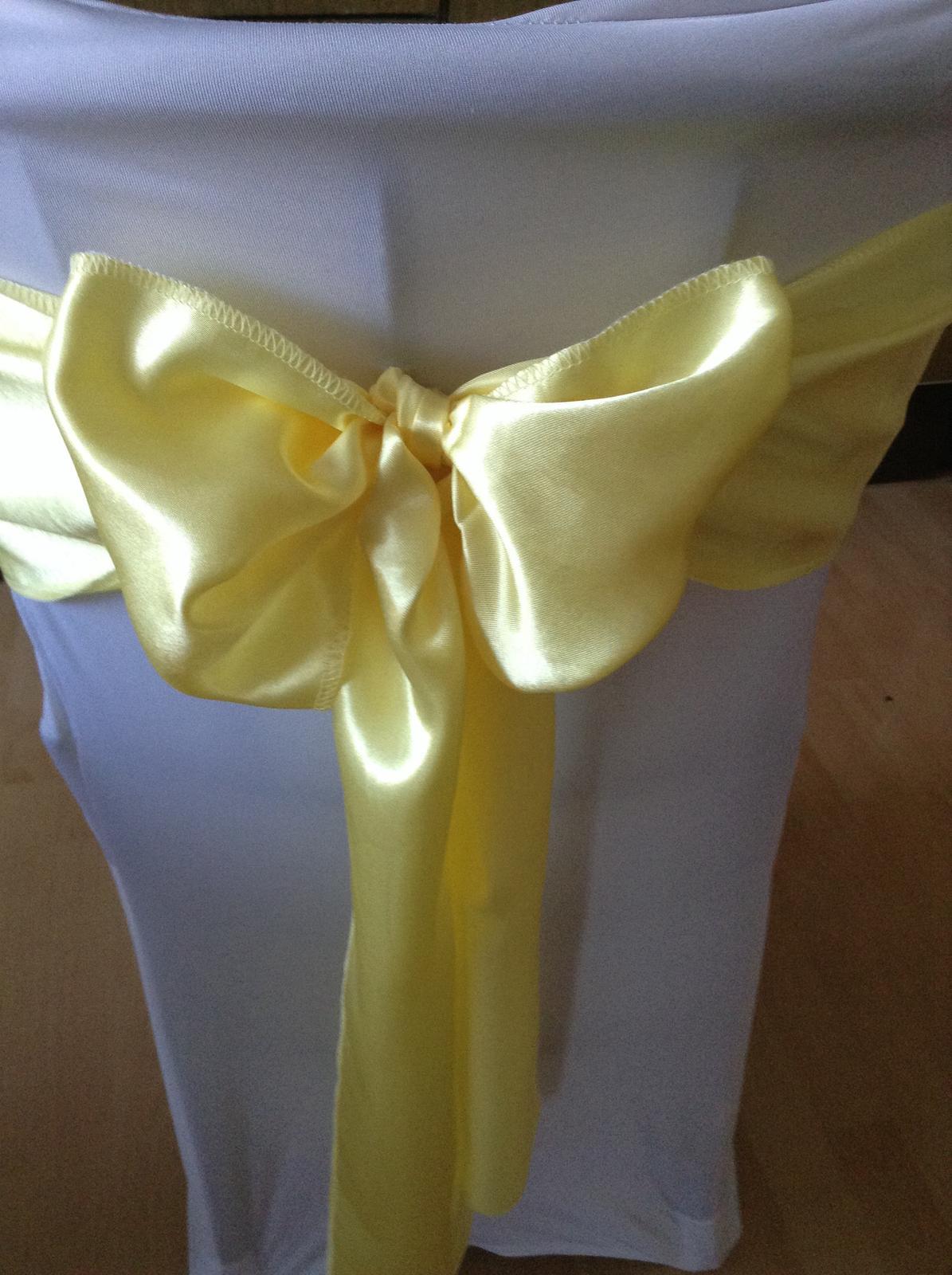 Prenájom saténové mašle na stoličky , farba žltá - Obrázok č. 2