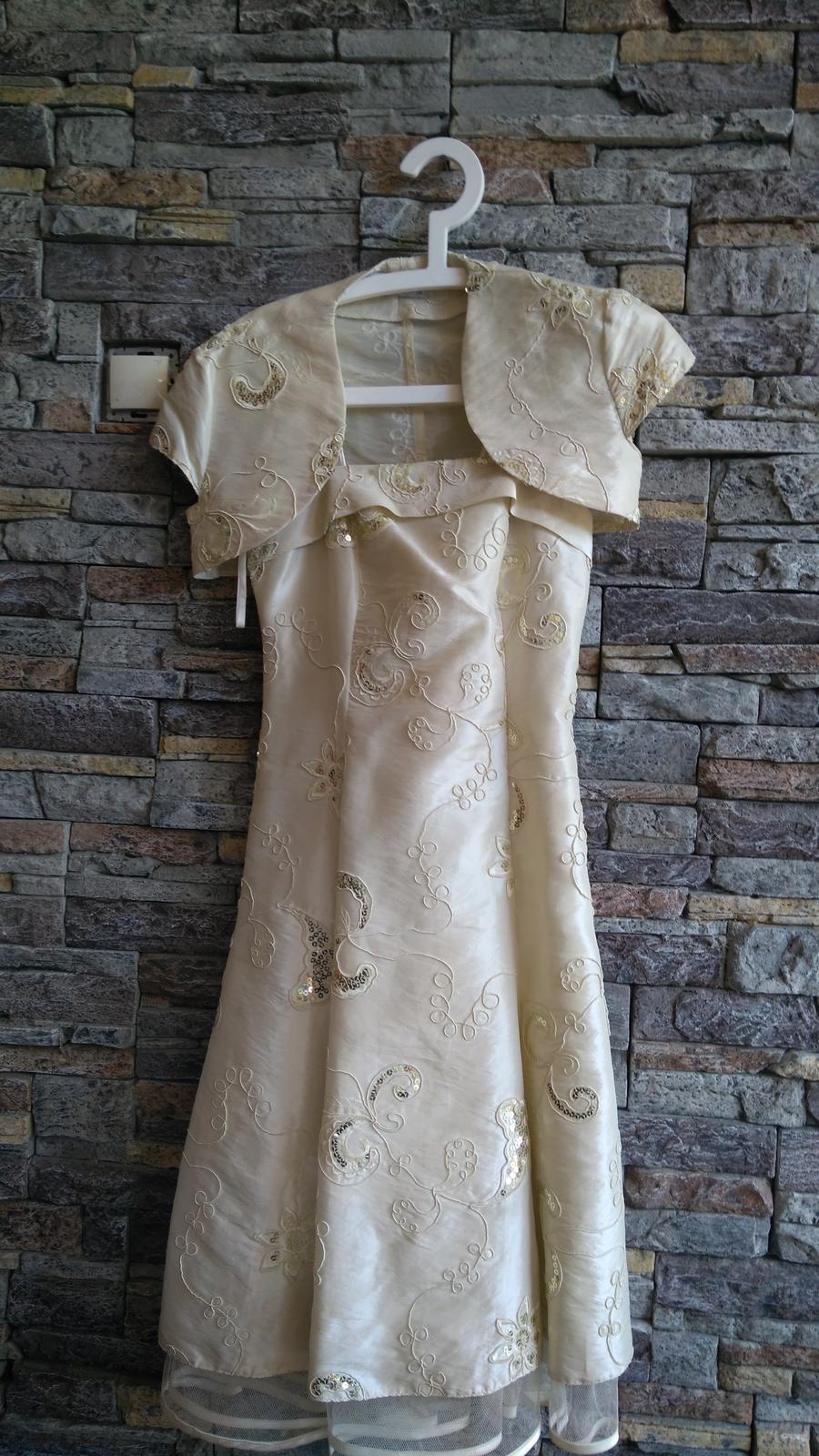 Zlaté šaty s flitrami po kolená - Obrázok č. 1