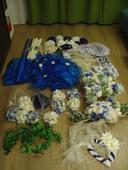 Výběr svatebních dekorací modro-smetanovo-bílá,