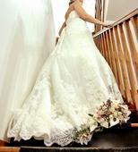 Korzetové svadobné šaty s vlečkou, 40