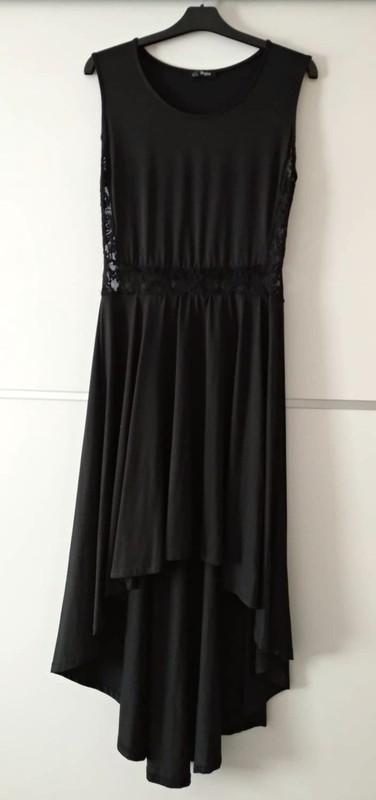 Dlouhé černé šaty s krajkou na břichu vzadu delší - Obrázek č. 2