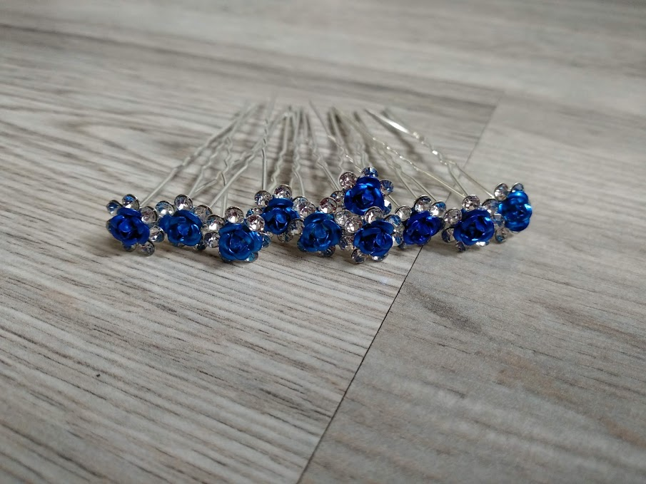 Modré kytičky do vlasů - 10 ks. - Obrázek č. 1